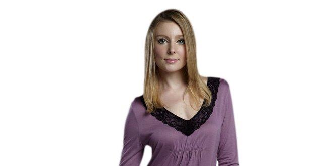 Dámská fialová noční košile s tříčtvrtečními rukávy Les Affaires