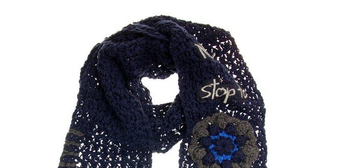 Dámská fialová pletená šála s třásněmi Desigual  85a4650c4a