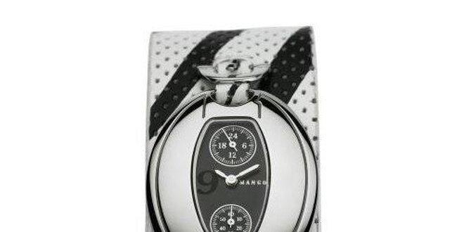 Dámske hodinky Mango s černým 24hodinovým ciferníkem, a černo/bílým koženým…