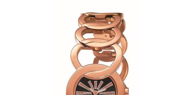 Dámské růžovo-zlatě tónované hodinky s paprsky Esprit