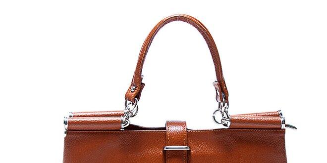 Dámská originální koňakově hnědá kožená kabelka Renata Corsi ... c97f0254789