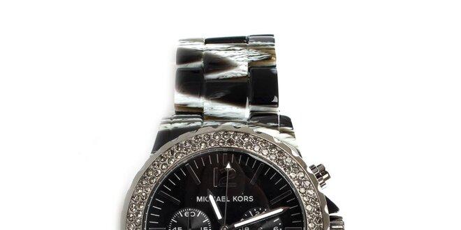 Dámské černé hodinky s krystaly Michael Kors  f83bf46284