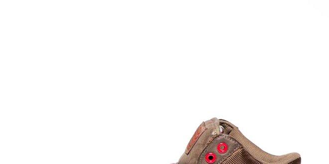 Pánské hnědé kotníkové tenisky s kontrastními prvky Big Star