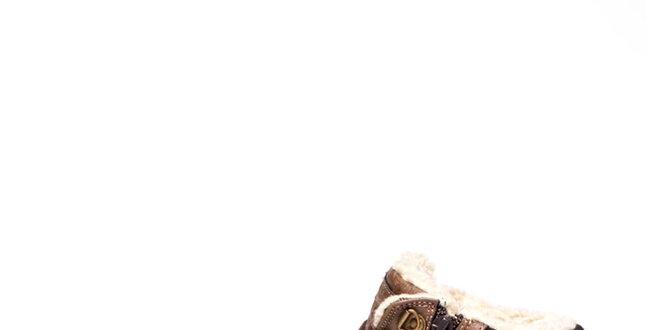 Pánské hnědé kontníkové tenisky s kožíškem Big Star