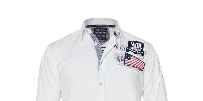 Pánská bílá košile s vlajkou Giorgio di Mare  326ac17e8e