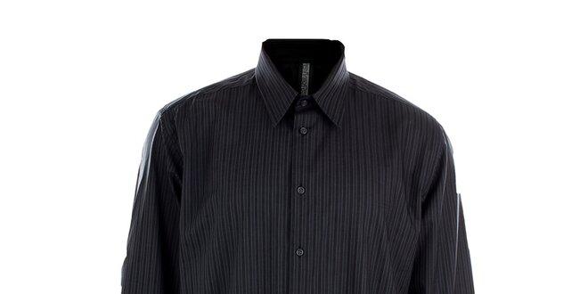 Pánská šedá obleková košile s proužkem Pietro Filipi