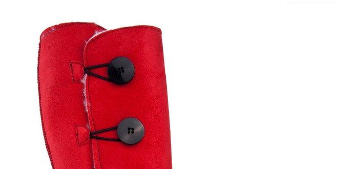 Dámské vysoké červené válenky s knoflíky Via Bellucci