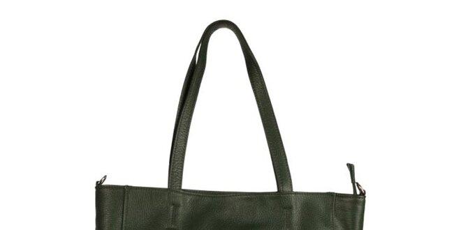 2f389a2823 Dámská tmavě zelená kožená kabelka se zipovým detailem Made in Italia