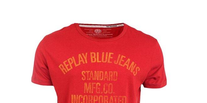 Pánské červené tričko se žlutým vintage potiskem Replay
