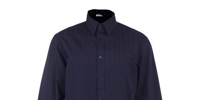 Pánská tmavě modrá košile s reliéfním proužkem GAS