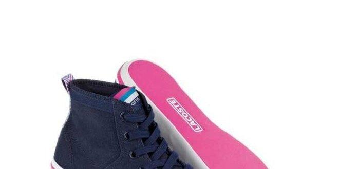 91b1175a1a Dámské modro-růžové textilní kotníkové tenisky Lacoste