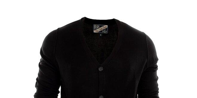 Pánský černý kardigan se záplatami Fuga