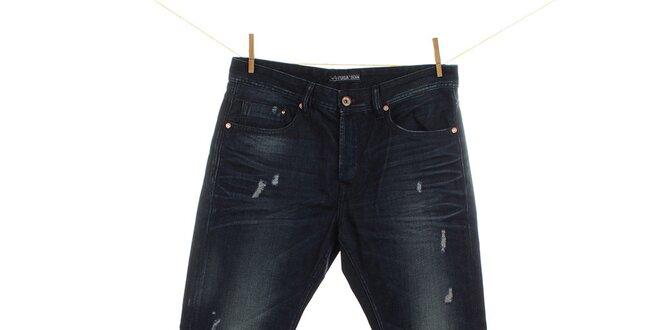 Pánské tmavě modré džíny s prodřeninami Fuga
