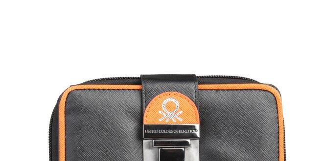 Dámská černá peněženka s oranžovými prvky a přezkou Benetton