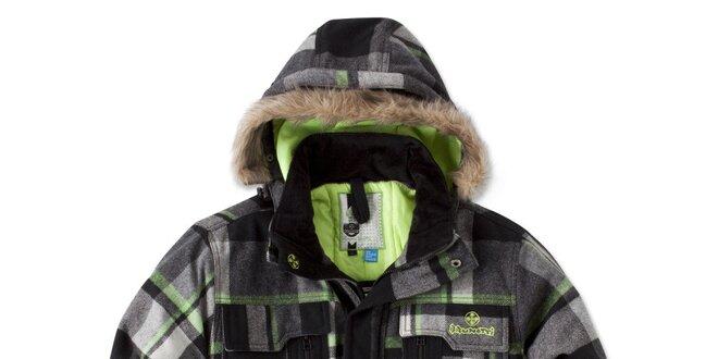Pánská černo-šedá bunda se zelenými prvky Brunotti