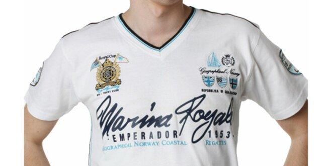 Pánské bílé tričko s potiskem Geographical Norway