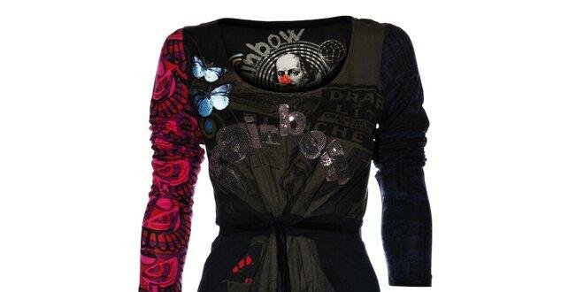 Dámské černé šaty Desigual s potiskem a flitry  072639560c