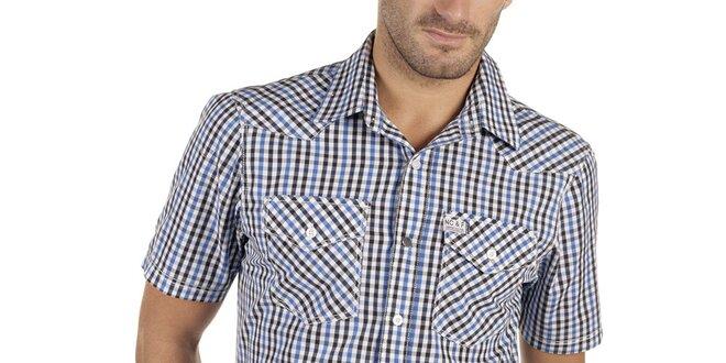 Pánská modro-černo-bílá kostkovaná košile s krátkým rukávem New caro