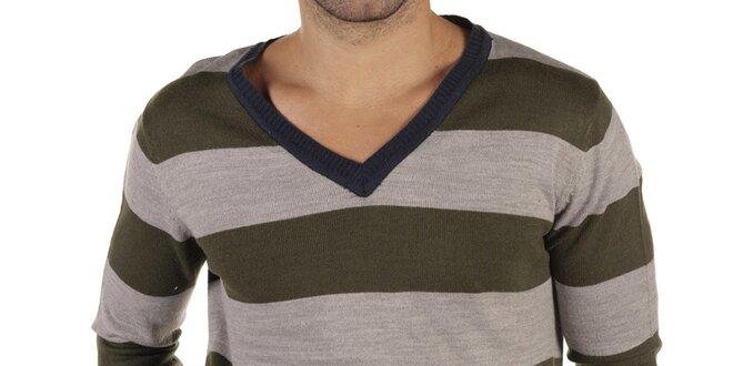 Pánský šedo-zelený pruhovaný svetr s tmavými lemy New Caro