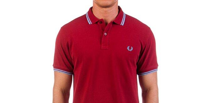 Pánské tmavě červené triko s modrými prvky Fred Perry