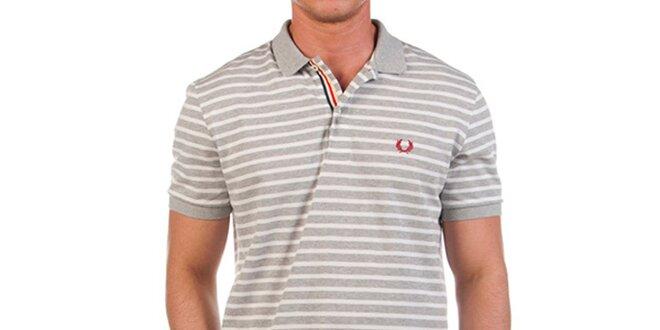 Pánské šedě proužkované polo tričko Fred Perry