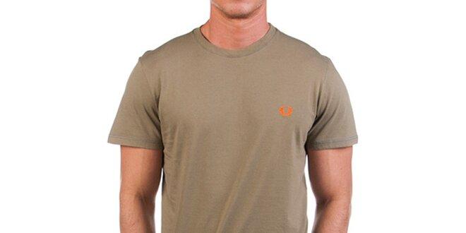 Pánské khaki tričko s potiskem na zádech Fred Perry