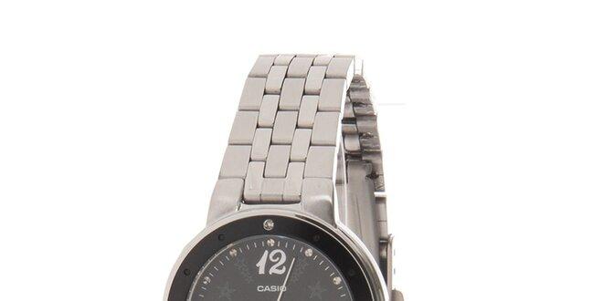 Dámské ocelové hodinky Casio s černým ciferníkem a hvězdičkami ... df3e0e244e2