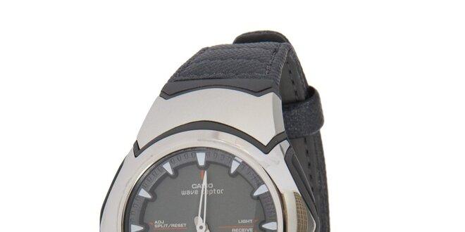 Pánské ocelové hodinky Casio s černým koženým řemínkem  7c46de7aa07
