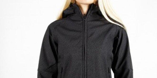 Dámská černá melírovaná softshellová bunda Authority s kapucí