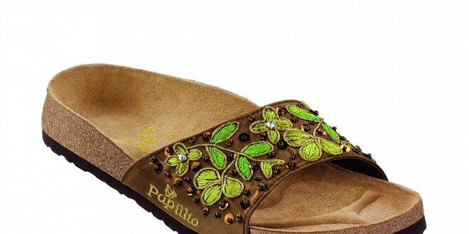 Dámské hnědé ortopedické pantofle Papillio s květinovou aplikací