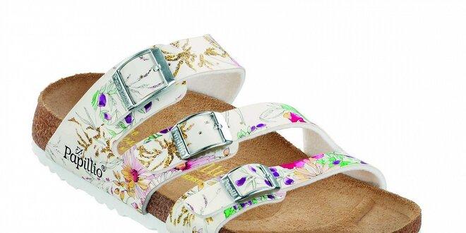 Dámské bílé ortopedické pantofle Papillio se třemi pásky