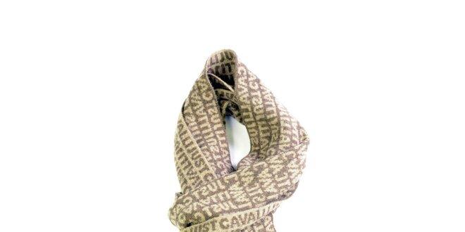 Béžová vlněná šála s nápisem Just Cavalli