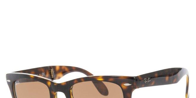 Hnědě žíhané skládací sluneční brýle Ray-Ban