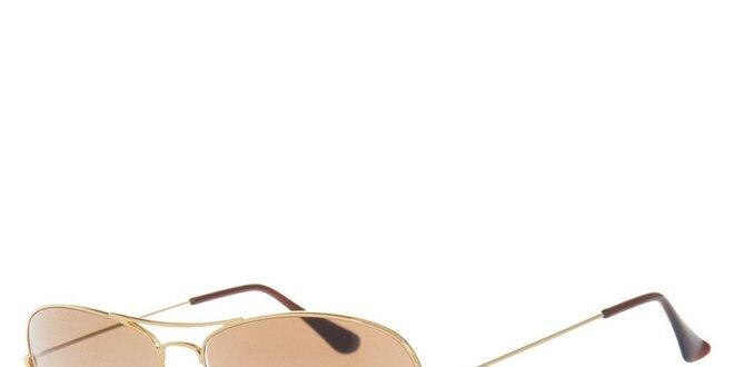 Kovové zlaté pilotky s hnědými skly Ray-Ban