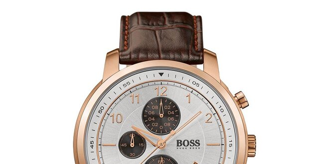 8c9c13feb Pánské analogové hodinky s hnědým koženým páskem a chronografem Hugo Boss