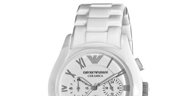 Bílé hodinky s chronografem a datumovkou Emporio Armani