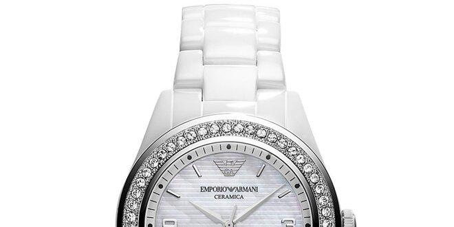Dámské bílé keramické hodinky se Swarovski krystaly Emporio Armani
