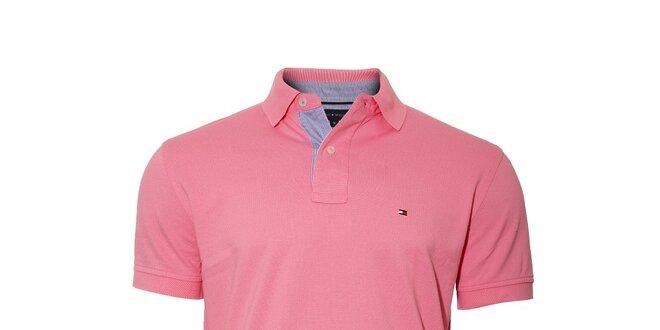 Klasické středně růžové polo tričko Tommy Hilfiger  3da5a9ed05