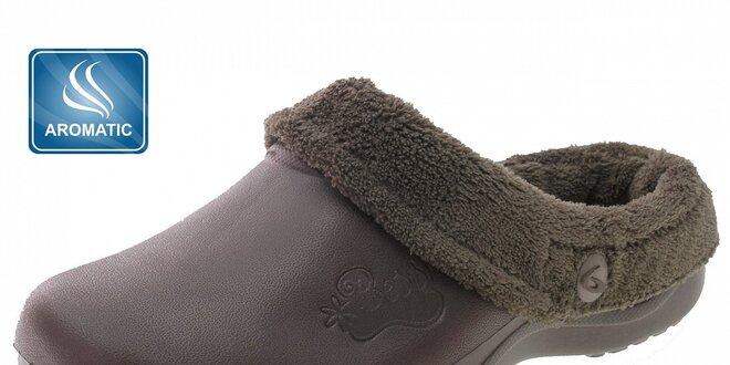 Dámské čokoládově hnědé voňavé pantofle Beppi s vnitřním kožíškem