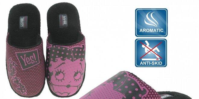 Dámské růžové voňavé pantofle Beppi s potiskem