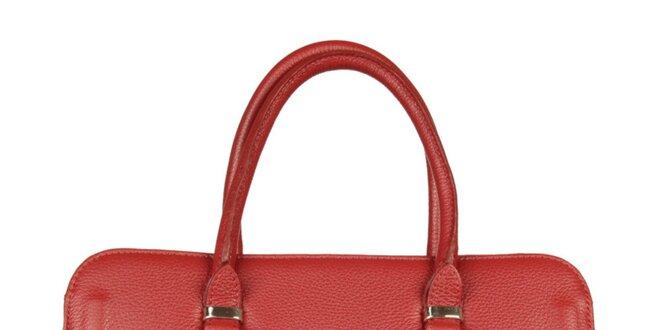 Dámská kožená bordó kabelka Made in Italia