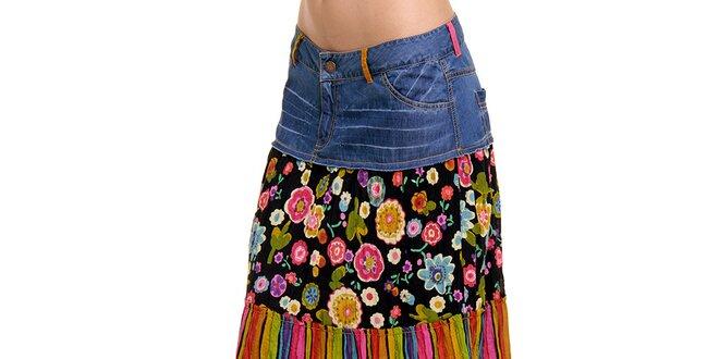 58b63b4a96a Dámská dlouhá barevná sukně s džínovým pasem Peace Love