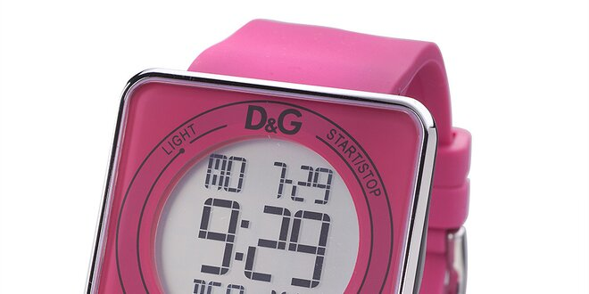 Dámské růžové digitální hodinky s hranatým ciferníkem Dolce   Gabbana 02b8b427a5