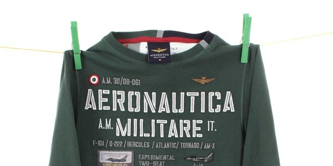Dětské tmavě zelené tričko s dlouhým rukávem Aeronautica Militare ... 4363901211