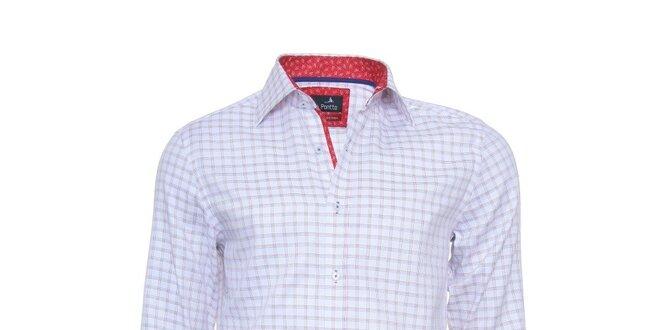 Pánská kostkovaná košile Pontto s červeně podšitým límcem  1546559c9c