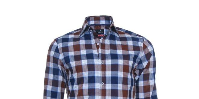 Pánská modro-hnědá kostkovaná košile Pontto  ffb78b2047