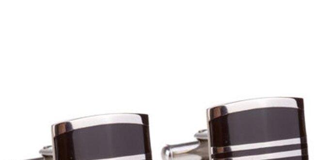 Pánské černo-stříbrné manžetové knoflíčky Marsanpiel