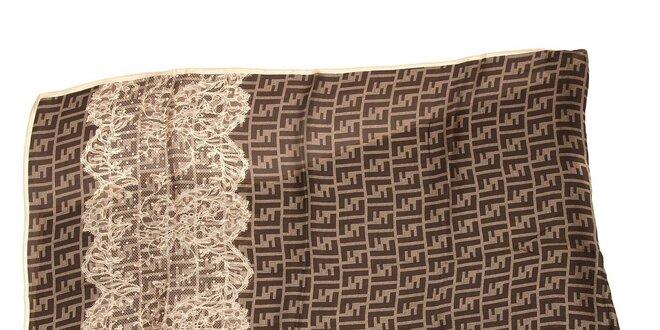 Šál Fendi s motivem krajky v barvě mocca