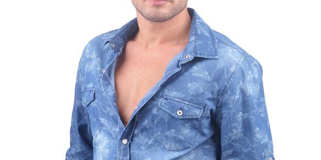 Pánská modrá džínová košile s lístky RNT23