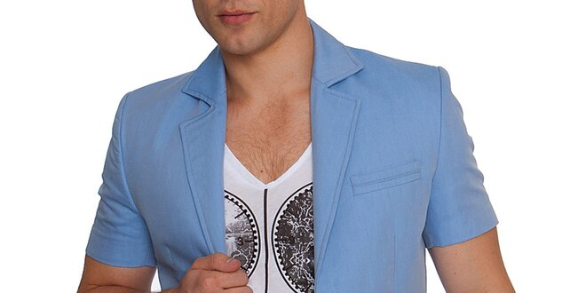 Pánské modré sako s krátkým rukávem RNT23